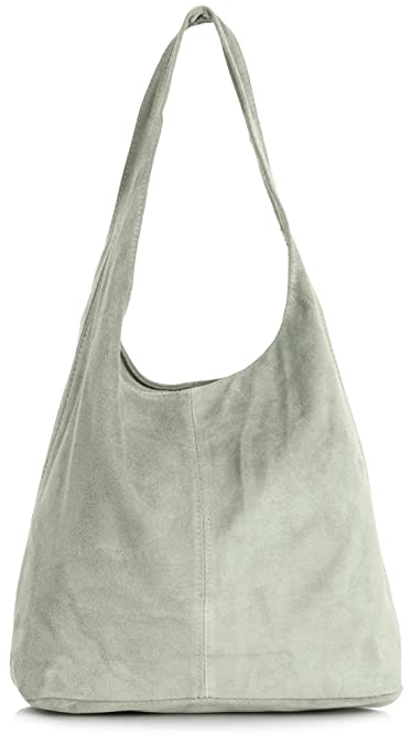 c6989f19bafd LiaTalia Womens Large Italian Suede Leather Single Shoulder Strap Hobo  Slouch Bag with Storage Bag - Shay