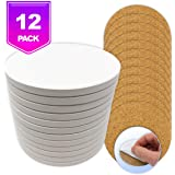 Ceramic Tiles for Crafts Coasters,12 Ceramic White Tiles Unglazed 4-Inch Cork Backing Pads, Use with Alcohol Ink or Acrylic Pouring, DIY Make Your Own Coasters, Mosaics, Painting Projects, Decoupage