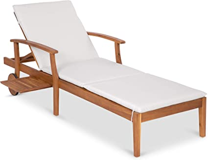 Best Choice Products 79x30 Inch Acacia Wood Chaise Lounge Chair Recliner Outdoor Furniture For Patio Poolside W Slide Out Side Table Foam Padded Cushion Adjustable Backrest Wheels Cream Garden Outdoor