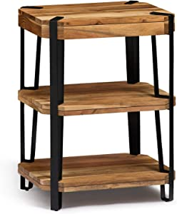 Alaterre Furniture Ryegate Natural Solid Wood with Metal 2 Shelf End Table, Live Edge