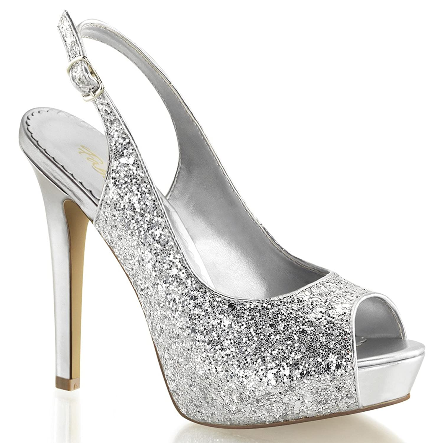 Amazon.com | Womens 4.75 Inch Silver Glitter Sparkly High Heels ...