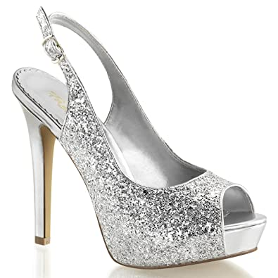 48699551348ce Womens 4.75 Inch Silver Glitter Sparkly High Heels Shoes with Slingback  Straps