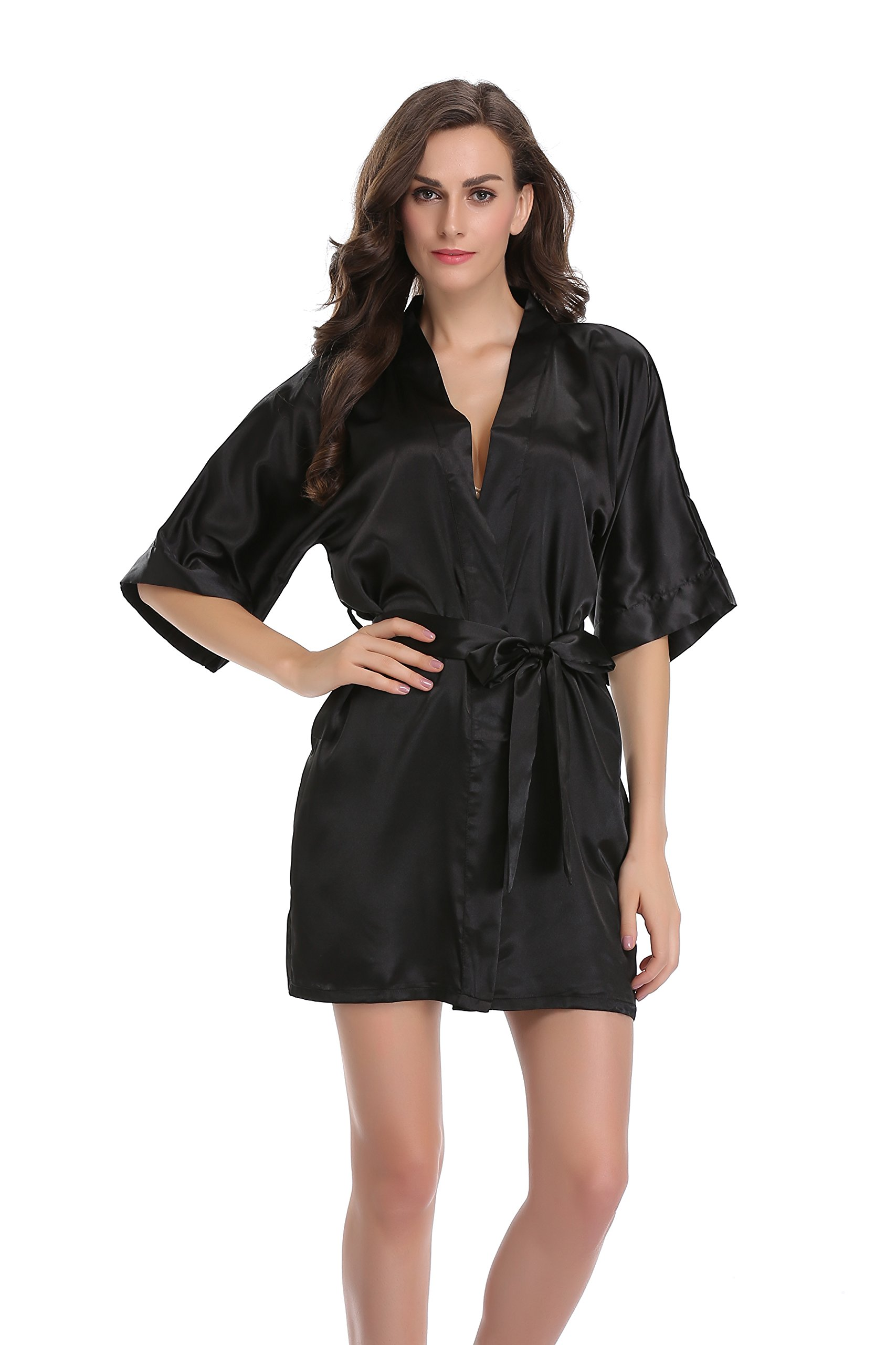 Sunnyhu Women's Pure Color Kimono Robe, Short (S, Black)