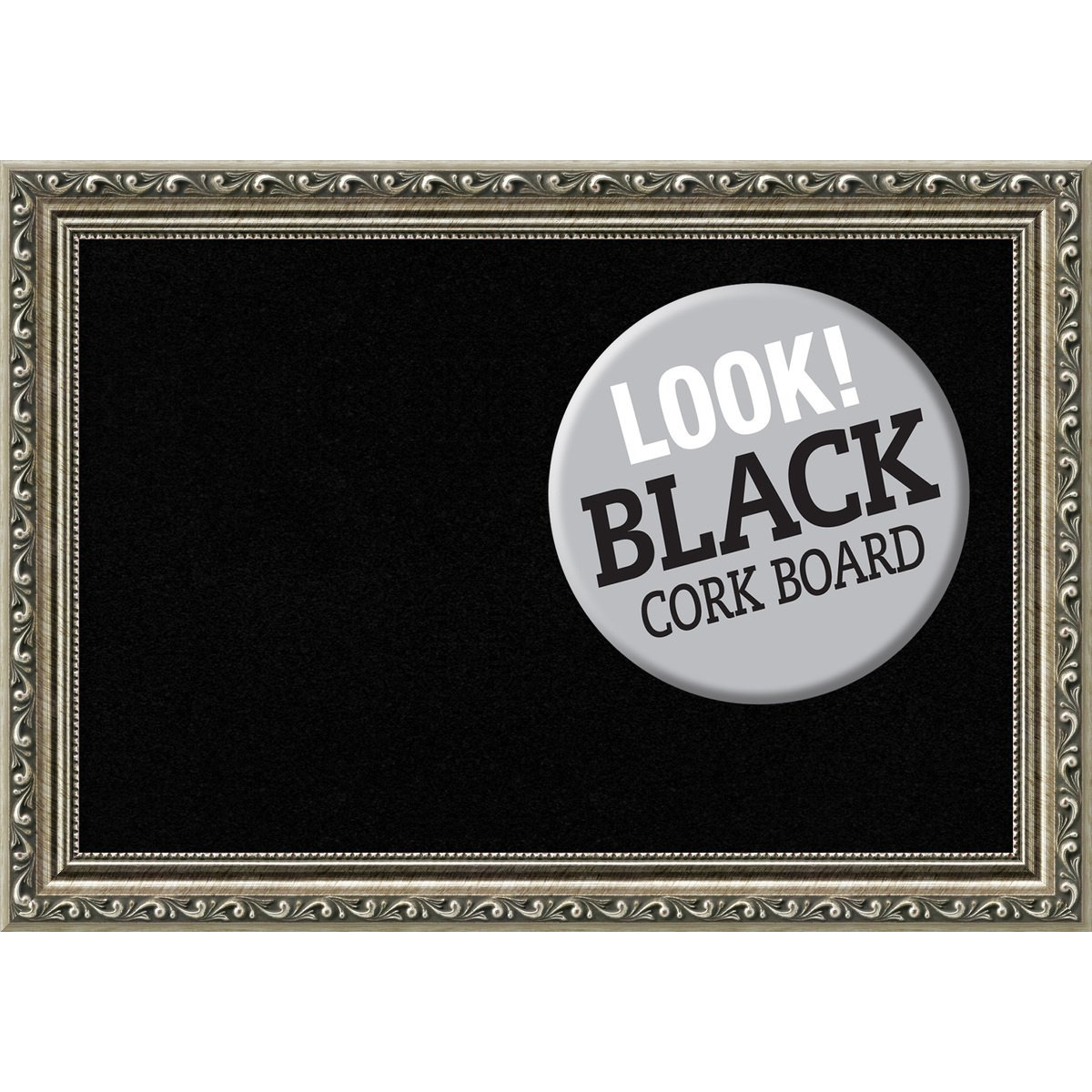 Amanti Art Framed Black Cork Board Parisian Silver: Outer Size 21 x 15'', Small by Amanti Art (Image #1)