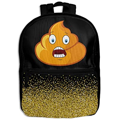 Cute Poop Emoji Glitter Golden School Backpack