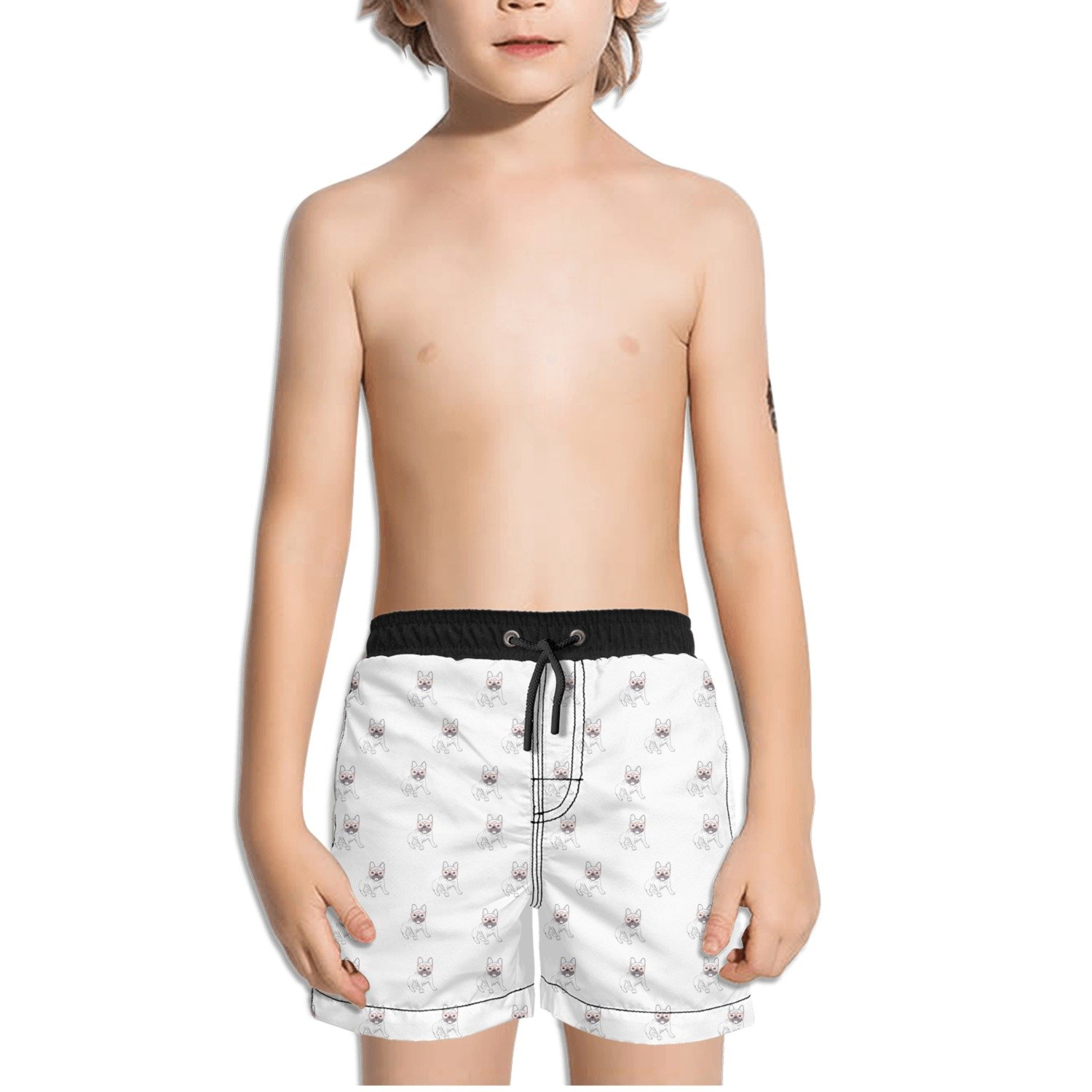 Juliuse Marthar Pug Gifts with Glasses White Swim Trunks Quick Dry Beach Board Shorts for Boys