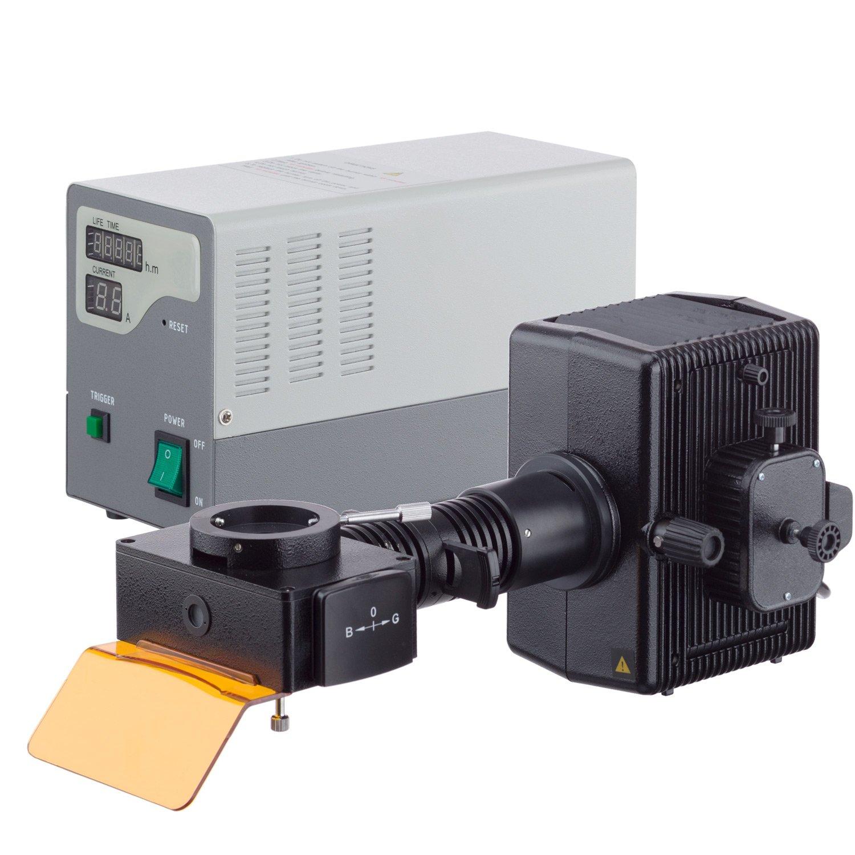 AmScope 40X-1000X Infinity-Corrected Fluorescence Microscope with LED Koehler Illumination and Quintuple Nosepiece
