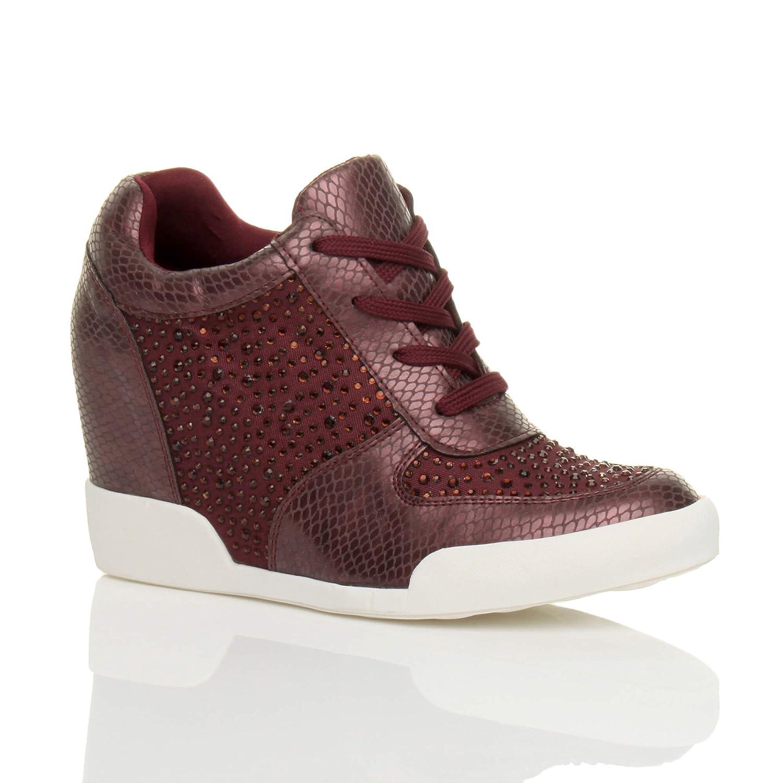ee4b020e6d5 Ajvani Femmes Talon Haut compensé Haut-Dessus Chaussures de Sports Bottines  Pointure  Amazon.fr  Chaussures et Sacs