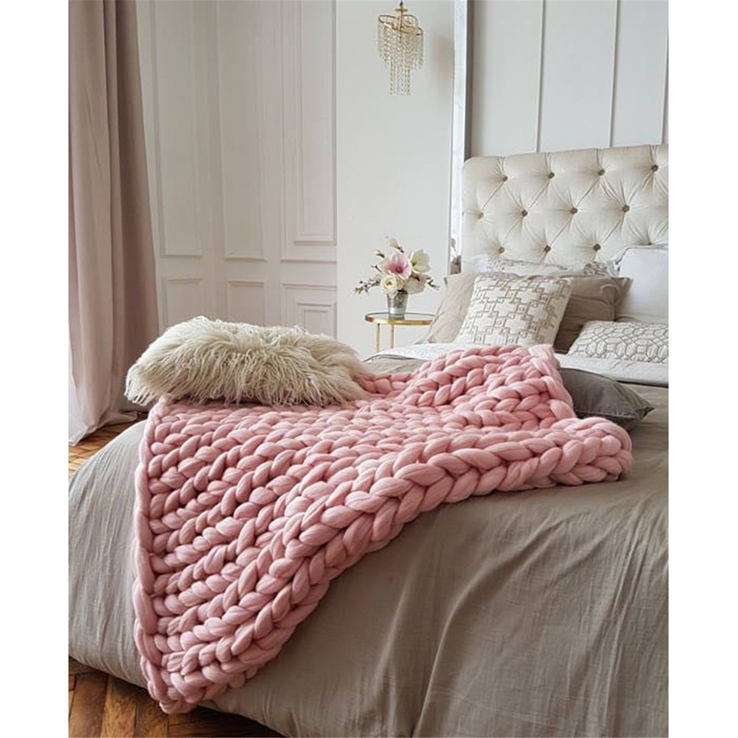 Chunky Giant Knit Thick Yarn Blanket Bulky Knit, Extreme knitting Knitted Pet Bed Chair Sofa Yoga Mat Rug (51 x 67 inches (130 cm x 170 cm), pink) by HomeModa