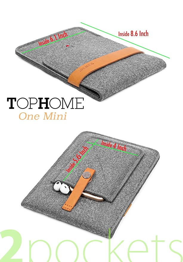 Amazon.com: TOPHOME Protector Bag Wool Felt Sleeve Carrying Case Cover Genuine Leather Lock Compatible for iPad Mini/iPad Mini 2/ iPad Mini 3/ iPad Mini 4, ...