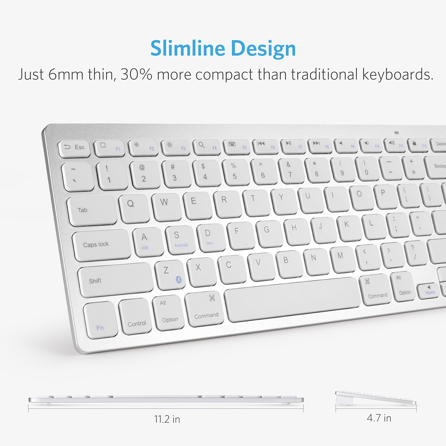Anker Bluetooth Ultra-Slim Keyboard for iPad Air 2 / Air, iPad Pro, iPad mini 4 / 3 / 2 / 1, iPad 4 / 3 / 2 , New iPad 9.7''(2018/ 2017), Galaxy Tabs and Other Mobile Devices (White) by Anker (Image #1)