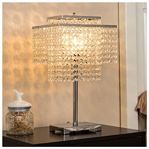 POPILION Glorious Double-Deck Crystal Table Lamp,Chrome Desk Lamp with Elegant Crystal Lamp Shade,Nightstand Table Lamp for Bedroom, Living Room,Study Room,Cafe