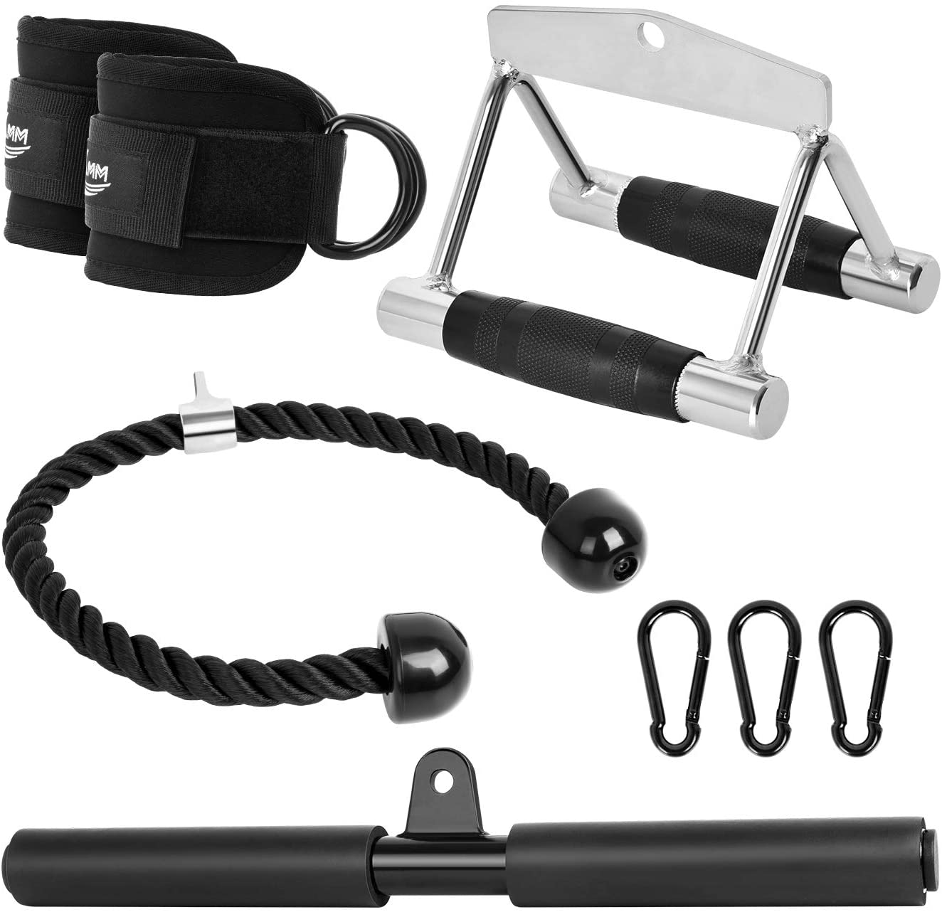 KMM Cable Machine Attachments Fitness Machine Accessories|4-Piece Set - Triceps Rope Pull Down Attachment + V-Shaped Handle + Straight Bar + Ankle Straps + Carabiner Clips for Home Gym Workout