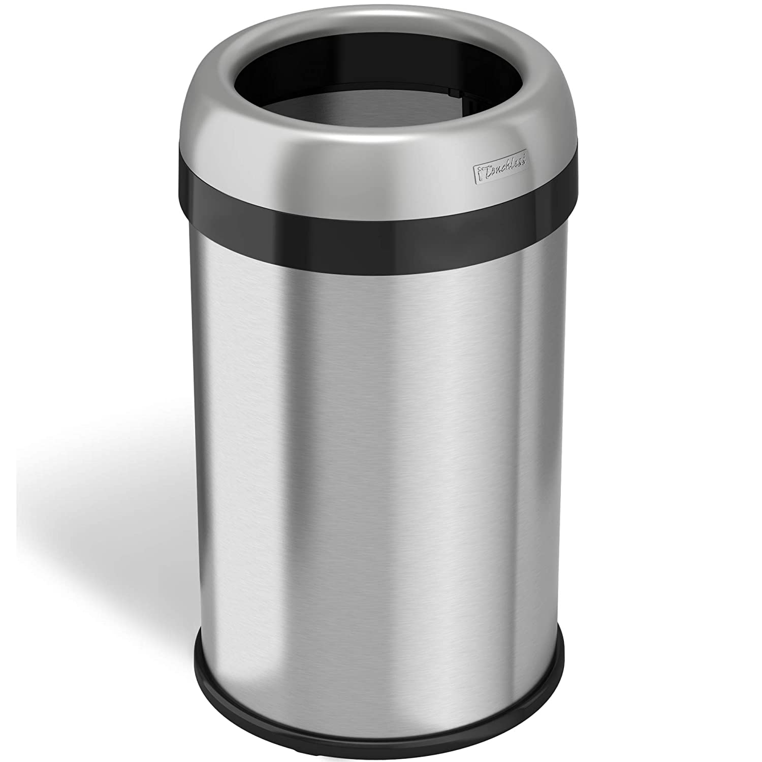 13 Gallon iTouchless 18 Gallon Dual-Deodorizer Open Top Trash Can Rectangular Shape, Commercial Grade Stainless Steel, 68 Liter Recycle Bin, Silver,