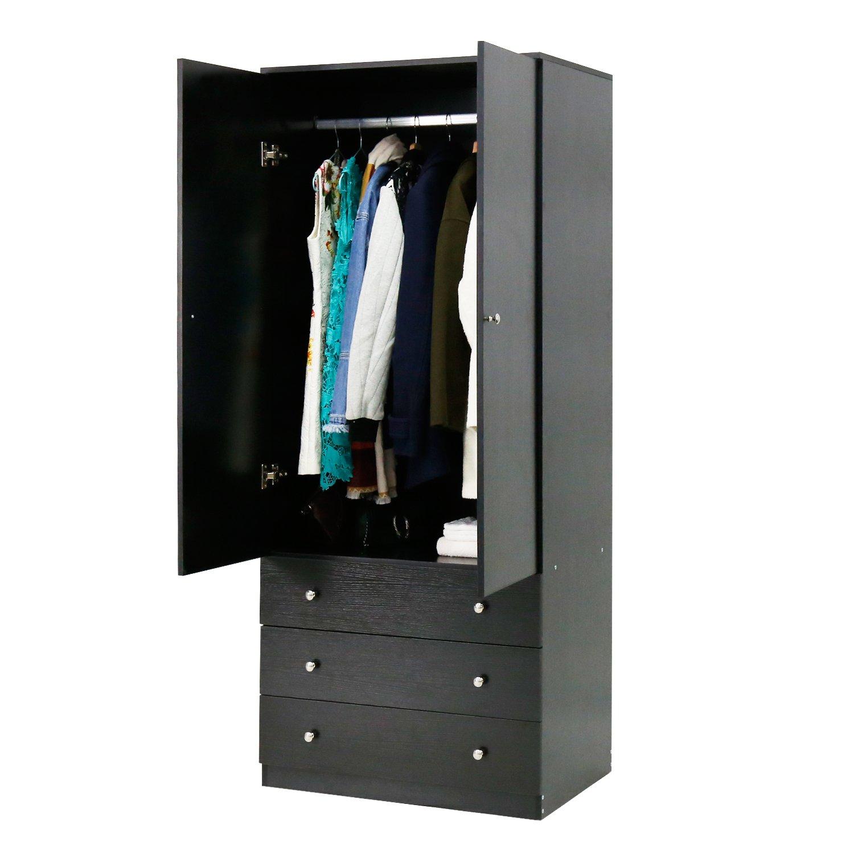 Peach Tree 2-Door Wardrobe Cabinet Armoire Storage with Three Drawers, Black/White (black)