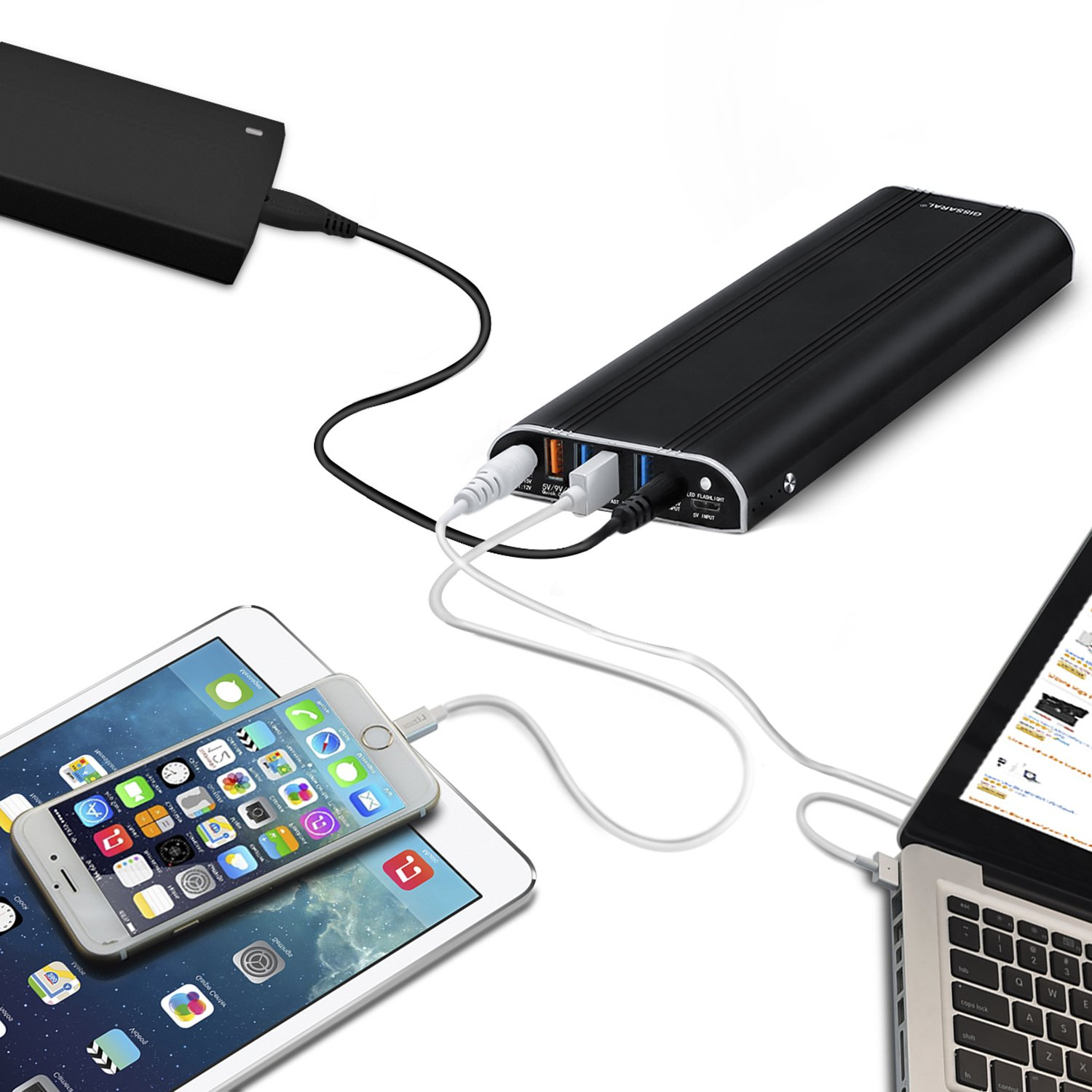 GISSARAL 35000mAh Power Bank External Battery Portable Charger for MacBook Pro MacBook Air, 4 USB Ports Quick Charge for New MacBook Tablets or Smartphones -Black by GISSARAL (Image #6)