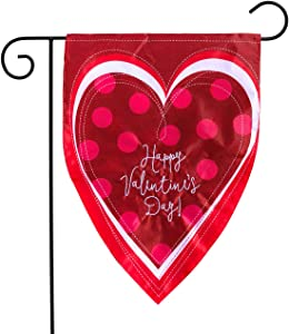 "Briarwood Lane Valentine's Heart Applique Garden Flag Holiday Sculpted 12.5"" x 18"""