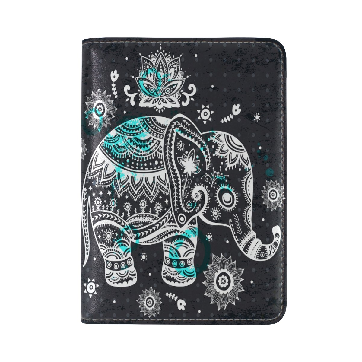 Elephant Genuine Leather Passport Case Holder Cover Protector for Travel