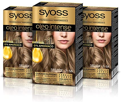 Syoss Oleo Intense - Tono 7-58 Rubio Arena (Pack De 3) – Coloración permanente sin amoníaco – Resultados de peluquería – Cobertura profesional de ...