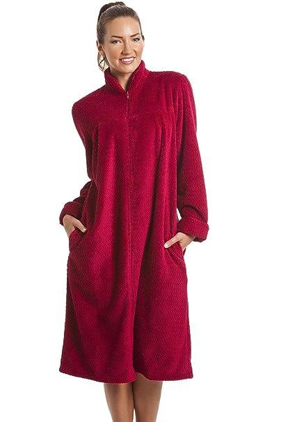 Camille - Bata de suave forro polar - Con cremallera frontal - Rojo rubí 50/52: Camille: Amazon.es: Ropa y accesorios