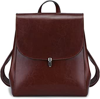 S-ZONE Women Girls Ladies Leather Backpack Purse Daily Casual Travel Bag Medium