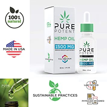 Pure Potent Hemp Oil (1500mg | 30ml) for Pain Relief Anxiety Sleep Support  Natural Organic Hemp Seed