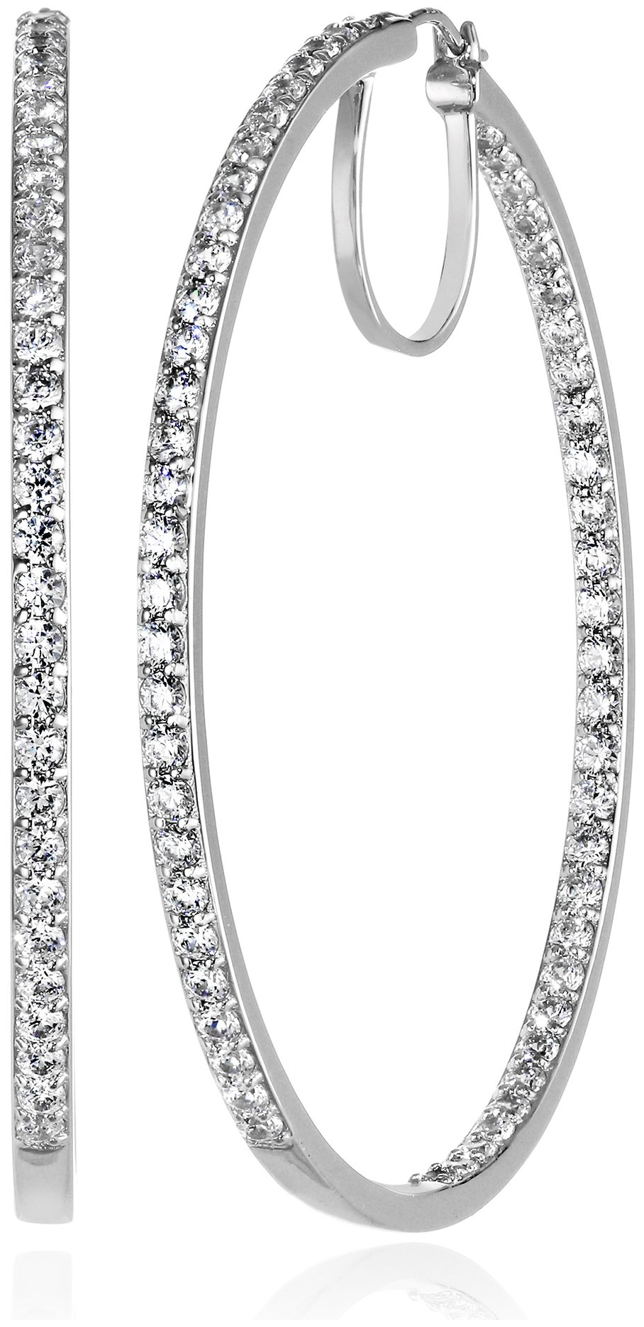Platinum-Plated Sterling Silver Swarovski Zirconia Round Hoop Earrings (2'' Diameter) (7 cttw) by Amazon Collection
