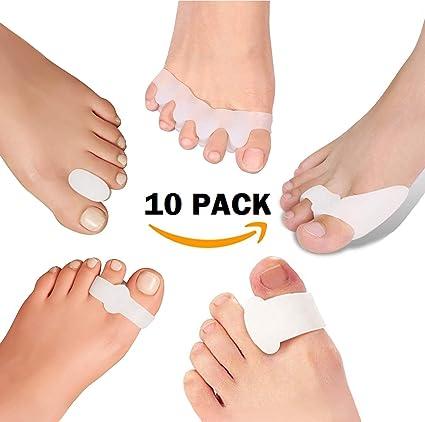 Kit de 10 piezas de gel para juanetes Footlwell Separadores de dedos, espaciadores, protectores, alisadores, férulas, ...