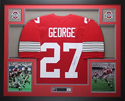 separation shoes ac0a9 b9041 Eddie George Autographed Red Ohio State Jersey - Beautifully ...