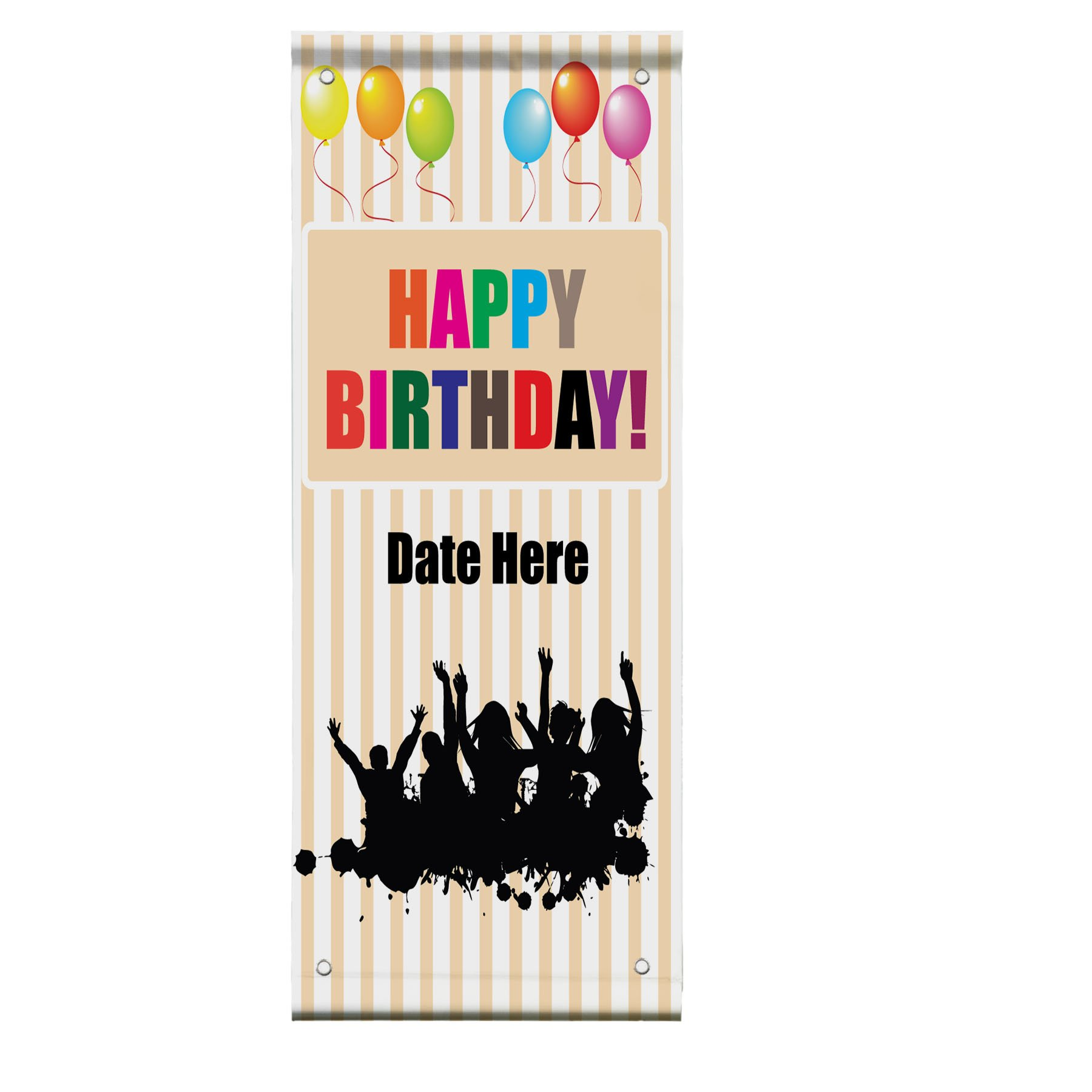 Custom Date Birthday Party Double Sided Vertical Pole Banner Sign 24 in x 36 in w/ Pole Bracket