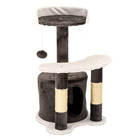 IPOTOOLS - Árbol rascador para Gatos Grandes, Estable, árbol rascador pequeño para Gatos con casa de Peluche, columnas de sisal, Tumbona y cordón de ...