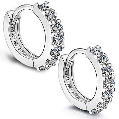 Weeno Jewellers 925 Sterling Silver Cubic Zirconia Hoop Stud Earrings for Women