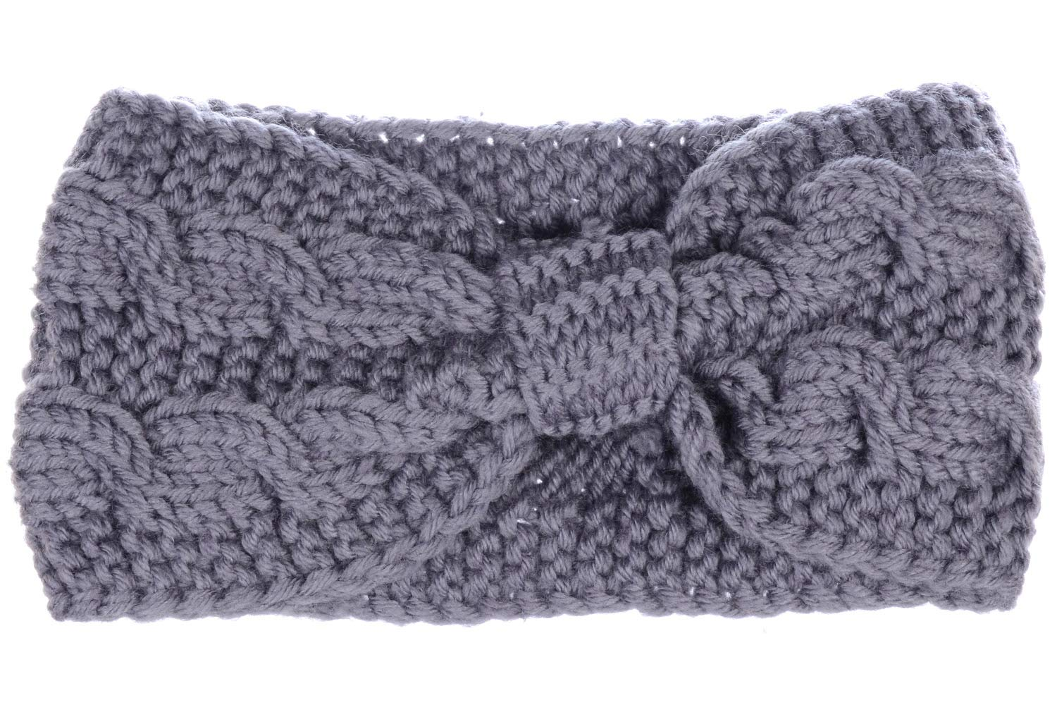 Womens Winter Boho Chic Classic Cable Bow Knotted Crochet Knitted Turban Headband Headwrap by Be Your Own Style (Image #2)