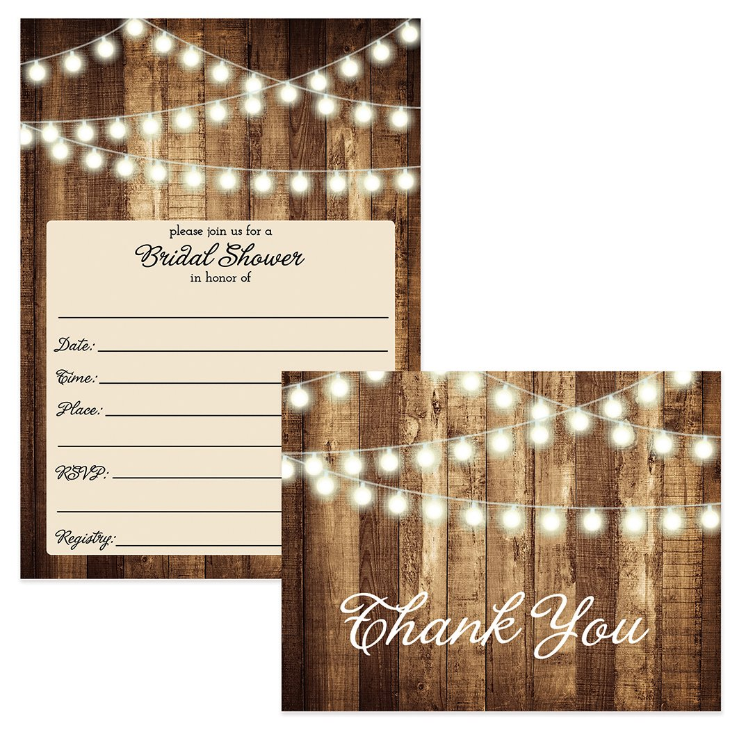 Amazon.com: SET of Rustic Bridal Shower Invitations & Thank You ...