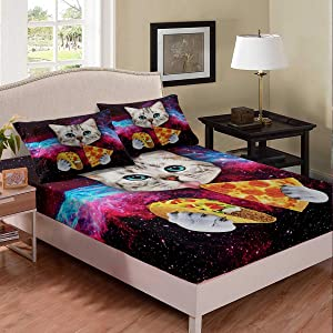 Galaxy Cat Bedding Twin Size for Kids Girls Boys Cute Colorful Animal Cat Print Bed Sheet Set Galaxy Funky Food Design Fitted Sheet Funny Home Universe Pizza Decor Bed Cover with Pillowcases,Soft