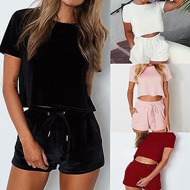 QinMM Camiseta Corta Tops + Pantalones Cortos para Mujer, Conjunto de Deportes Casual Camisas Verano: Amazon.es: Ropa y accesorios