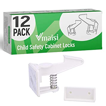 Closet Pack of 6 Ideal use for Cabinet Easy to Install No Tools Needed Baby Cabinet Safety Locks Drawers cupboards