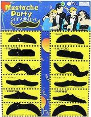 Haobase 12Pcs Adhésif Assorti Black Moustaches Fancy Dress Costume Accessory
