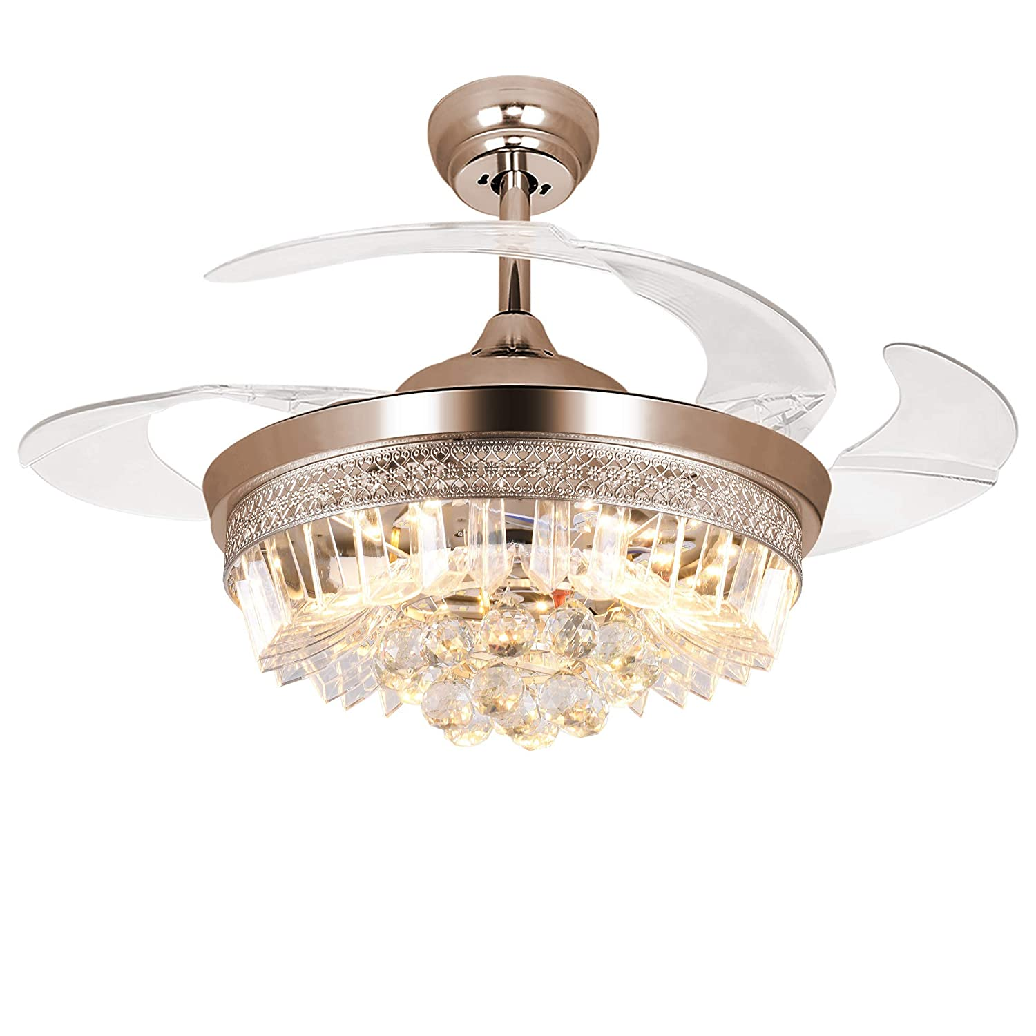 RS Lighting 42-Inch Modern Crystal Ceiling Fans with Remote Control ...