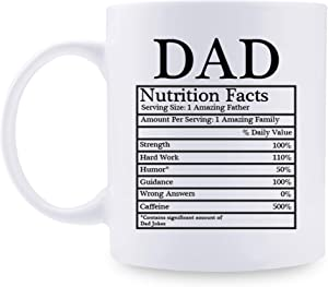 shefine Nutrition Facts Dad Coffee Mugs - Funny Birthday Gift for Daddy Mug from Daughter,Son, Kids,Wife- 11 oz Gift for DAD (Nutrition Facts Dad)