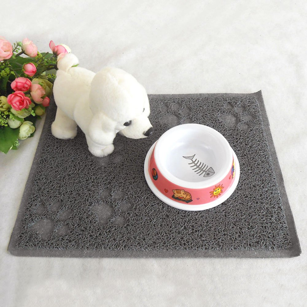 PVC Waterproof Rectangle Paw Claw Pattern Pet Dog Cat Food Bowl Mat Kitchen Door Floor Mat Grey Elisona