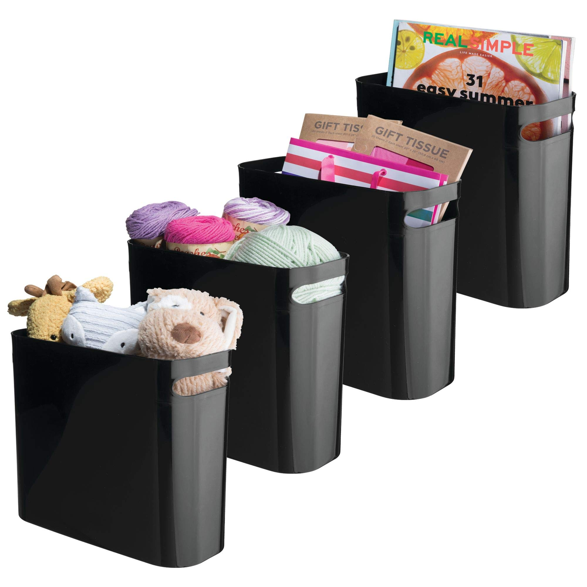 mDesign Plastic Storage Organizer, Holder Bin Box with Handles - for Cube Furniture Shelving Organization for Closet, Kid's Bedroom, Bathroom, Home Office - 10.75'' x 5'' x 10'' high, 4 Pack - Black