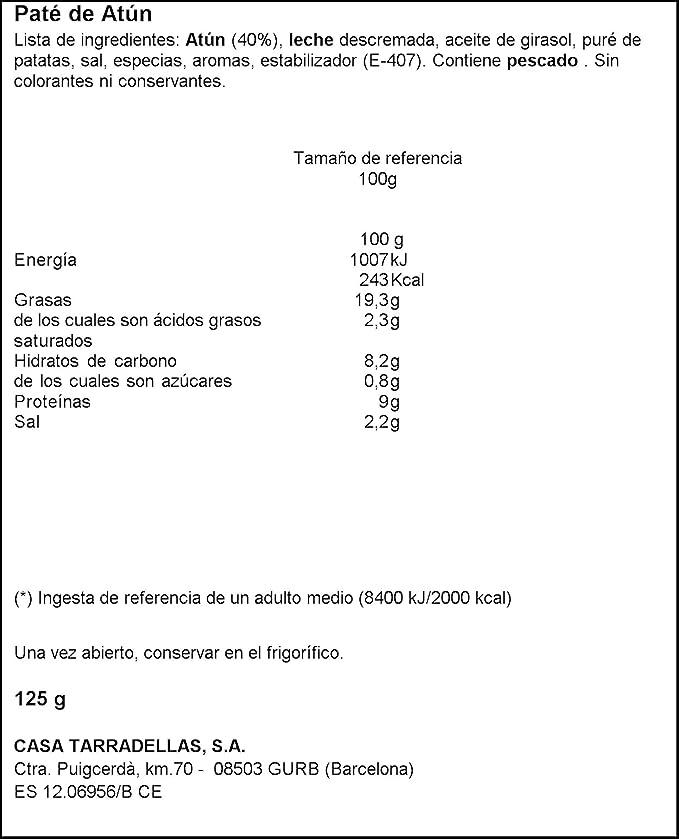 Casa Tarradellas Paté de Atún, 125g: Amazon.es: Alimentación ...