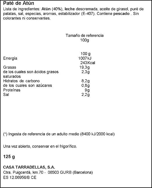 Casa Tarradellas - Paté de atún, 125 g: Amazon.es: Alimentación y ...