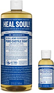 product image for Dr. Bronner's - Pure-Castile Liquid Soap (32 ounce and 2 ounce Bundle) - Made with Organic Oils, 18-in-1 Uses: Face, Body, Hair, Laundry, Pets and Dishes, Concentrated, Vegan, Non-GMO (Peppermint)