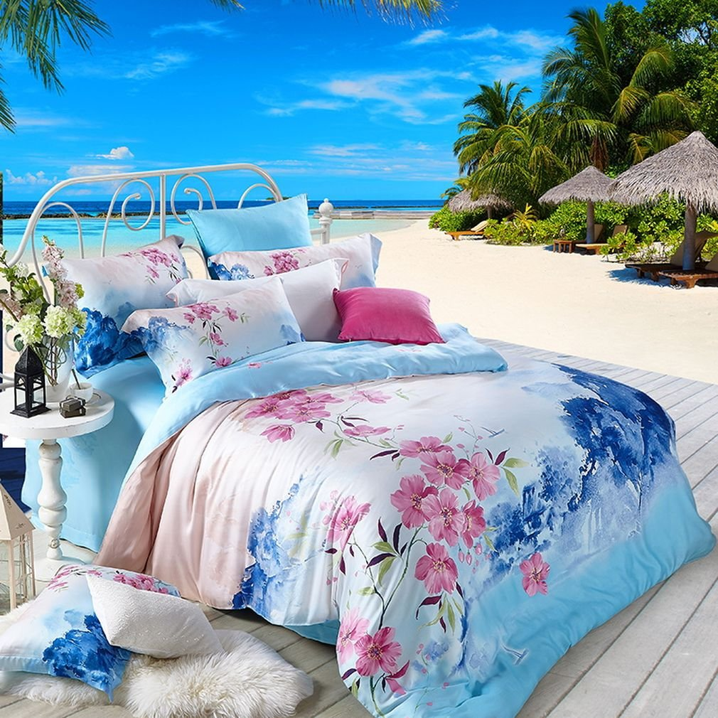 SAYM Home Bedding Sets Modern Fashion 3D Effect Digital Print Bohemian Bedding Tencel Set For Lovely Princess Teen Girls, Lady, Duvet Cover & Flat sheet & Pillow Case,4 Pieces,Queen Size