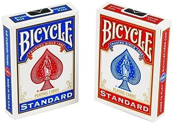 Bicycle - Juego de Cartas para Bicicleta (2 Unidades), Color Rojo y Azul, 88 x 63 mm