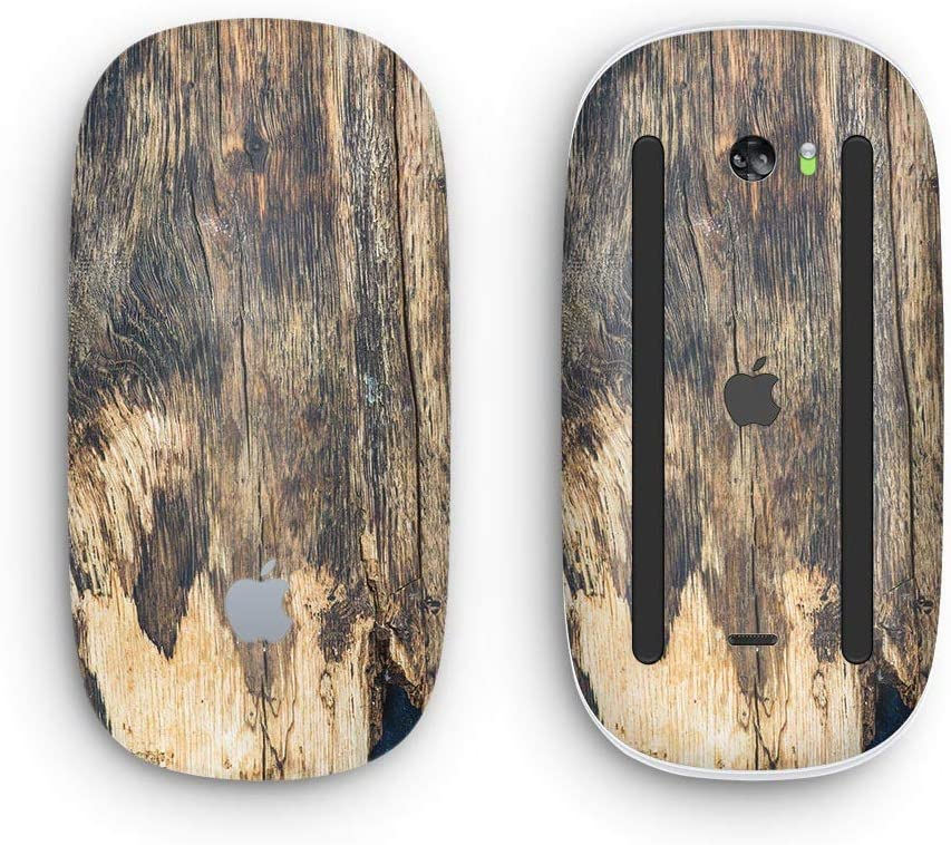 with Multi-Touch Surface Design Skinz Premium Vinyl Decal for The Apple Magic Mouse 2 Wireless, Rechargable Raw Wood Planks V12