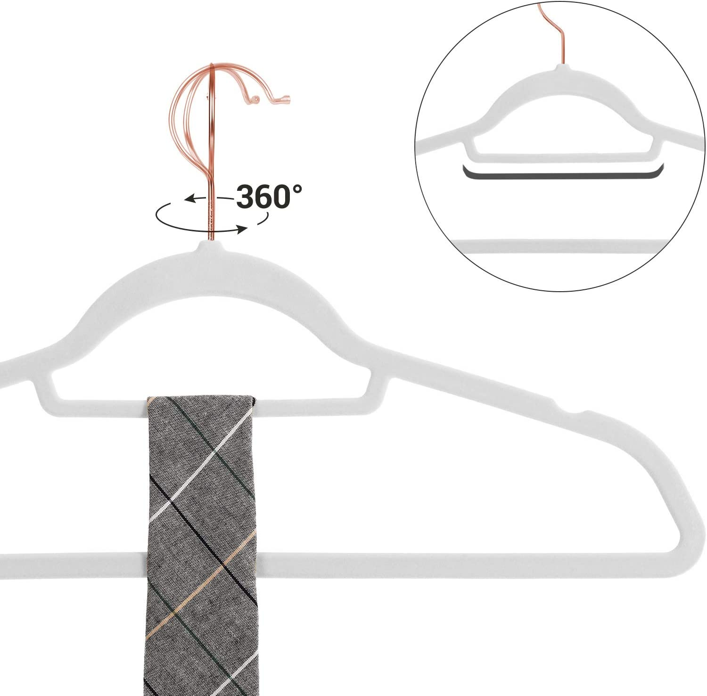 f/ür Jacken grau CRF21G30 Dicke 0,6 cm platzsparend Hosen 45 cm breit Hemden drehbarer Haken in Ros/égold Krawatten Jackenb/ügel Anti-Rutsch 30 St/ück SONGMICS Samt Kleiderb/ügel R/öcke