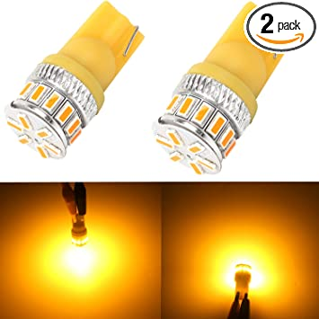 Pack of 10 GLL Amber T10 194 LED Light Bulb 8000K 168 2825 3-SMD LED Non-Polarity Car Bulbs for Interior Exterior Lights Map Door Trunk License Plate Lamp